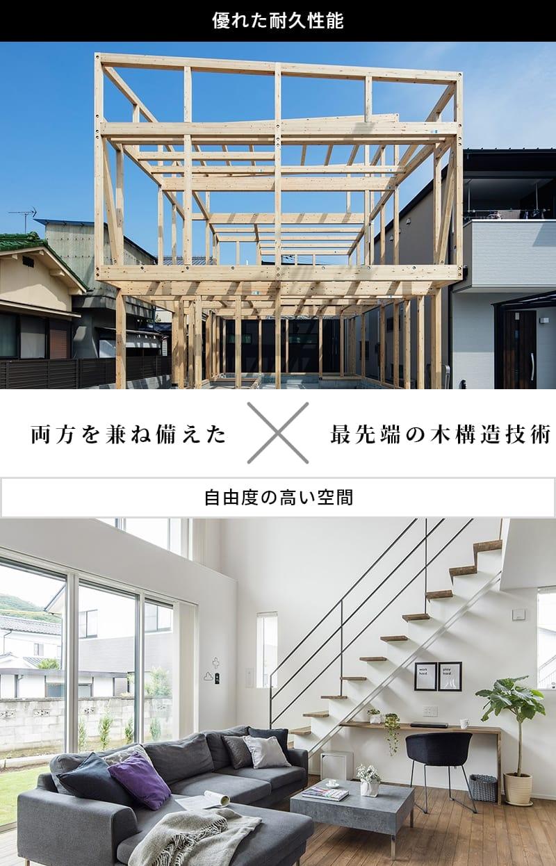 優れた耐久性能 自由度の高い空間 両方を兼ね備えたX最先端の木構造技術